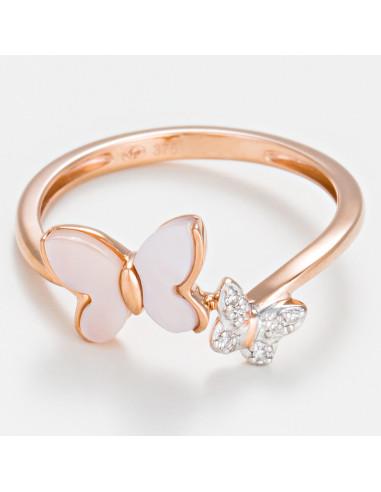 """Bague Or Rose 375/1000 """"Nuée"""" Diamants 0,02/6 et Nacre Rose"""