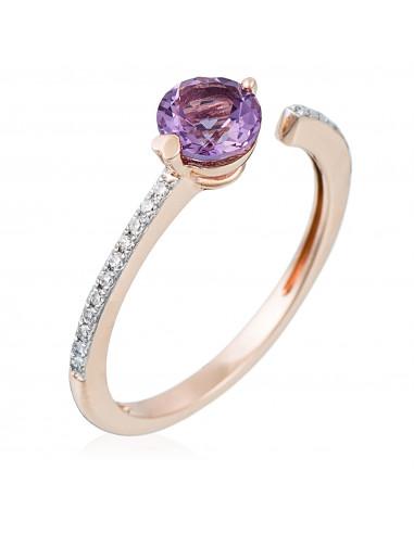 """Bague Or Rose 375/1000 """"Blueberry"""" Diamants 0,06/19 et Améthyste 0,45/1"""