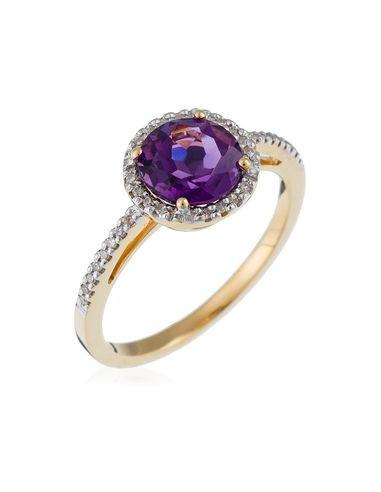 """Bague Or Jaune 375/1000 """"Popi Améthyste""""Diamant :0,10ct/32 + Amethyste :1,20ct/1"""