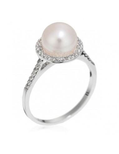 """Bague Or Blanc 375/1000 """"Perle enchantée"""" Or blanc Diamant :0,13ct/42+ 1 perle de culture de 8mm"""