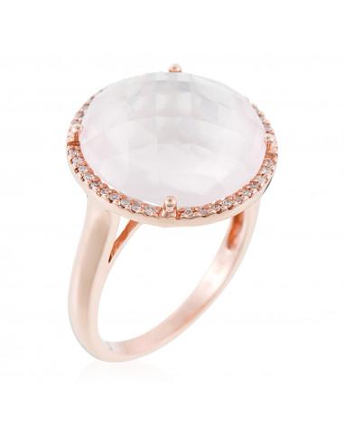 """Bague Or Rose 375/1000 """"Macaron"""" Diamant 0,12/40 Quartz Rose"""