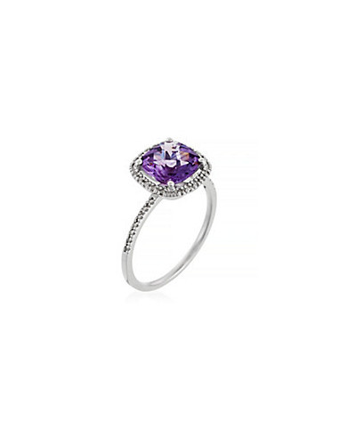 """Bague Or Blanc 375/1000 """"Purple Square"""" Diamants 0,10/34  Améthyste 2,51/1"""