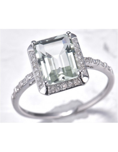 "Bague Or Blanc 375/1000 ""Emeraldine"" Prasiolite"