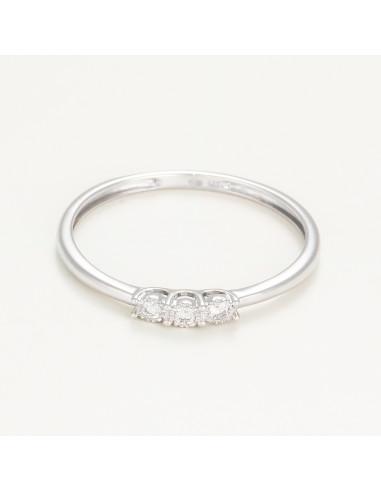"Bague Or Blanc 375/1000 ""trio de diamant"""