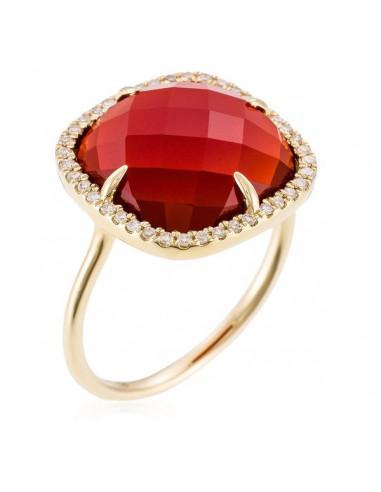 "Bague Or Jaune 375/1000 ""Naturelle"" Diamants 0,15/40 Agate Rouge 4,8ct"