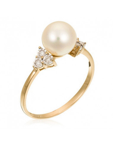 """Bague Or Jaune 375/1000 """"Triangle&Pearl"""" D0.07ct/6 Perle Blanche 7,5-8mm"""