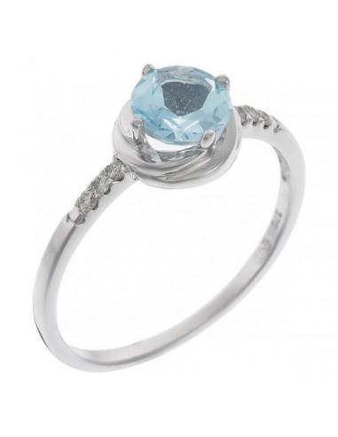 "Bague Or Blanc 375/1000 ""Long Island"" Diamants: 0,07/6 Topaze: 0,84/1"