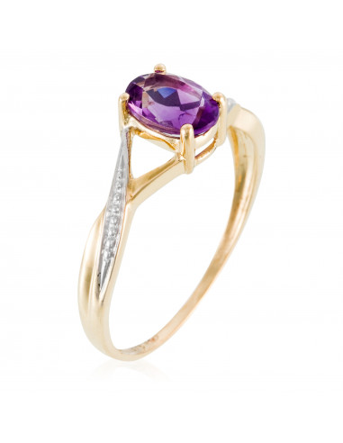 "Bague Or Jaune 375/1000 ""Purple magic"" Am 0,850ct/1"