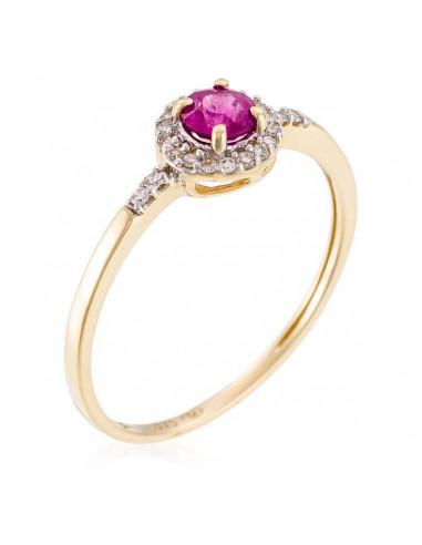 "Bague Or Jaune 375/1000 ""Rond de Rubis"" Diamant 0,09/22 Rubis 0,35/1"