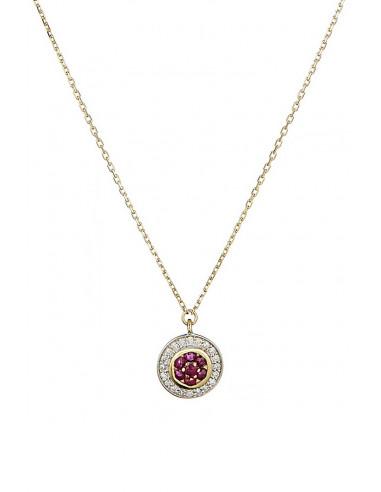 "Collier Or Jaune 375/1000 ""Bouclier"" Diamant 0,07ct/20 Rubis 0,14ct/7"