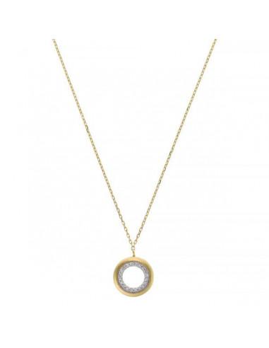 """Collier Or Jaune 375/1000 """"Cerceau précieux"""" Diamant 0,05ct/20"""