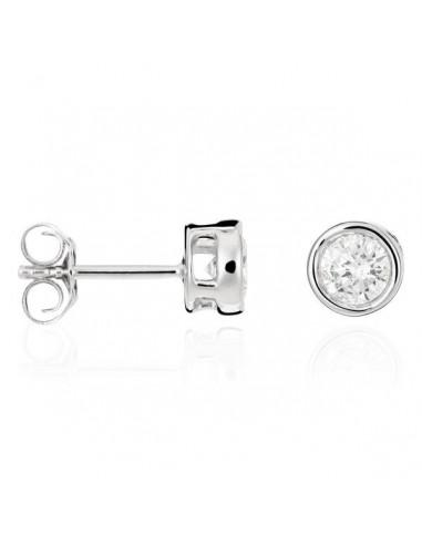 """Boucles d'oreilles Or Blanc 375/1000 """"Puce éclat"""" Diamants: 0,50ct/2"""