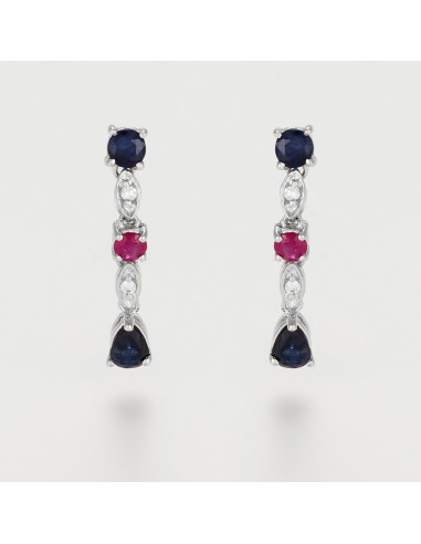 """Boucles d'oreilles Or Blanc 375/1000 """"Queen of stone"""" D0,03ct/4 S0,68ct/4 R0,18ct/2"""