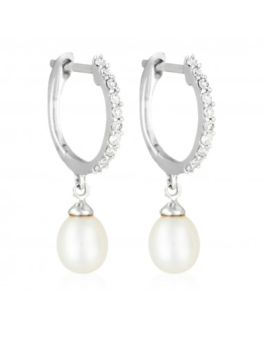 """Boucles d'oreilles Or Blanc 375/1000 """"Pérola"""" D0,1/20 et perle 1,5/2"""