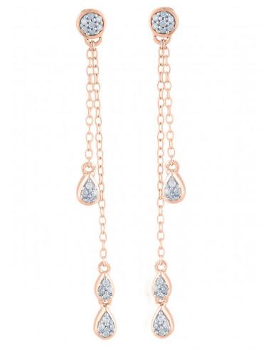 "Boucles d'oreilles Or Rose 375/1000 ""Diamond Falls"" Diamant 0,1/38"