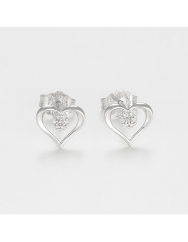 """Boucles d'oreilles Or Blanc 375/1000 """"In Love"""""""