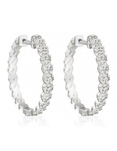 """Boucles d'oreilles Or Blanc 375/1000 """"Spirales de Diamants"""" Diamants 0,25ct/82"""