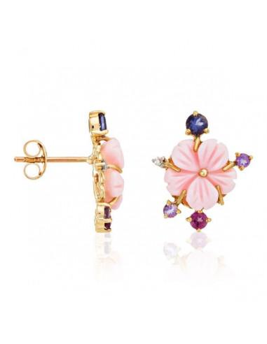 """Boucles d'oreilles Or Jaune 375/1000 """"Purple Flower"""" D0,02/2 A0,13/4 I0,2/2 Ro0,2/2"""