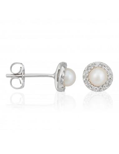 """Boucles d'oreilles Or Blanc 375/1000Boucles d' Oreilles """"Perles Enchantées"""" Diamants 0,14/32 Perles Blanches 4mm"""