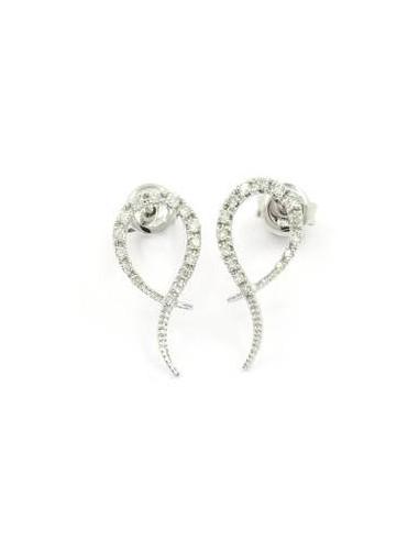 """Boucles d'oreilles Or Blanc 375/1000 """"Signature"""" Diamants 0,18ct/30"""