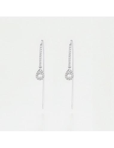 """Boucles d'oreilles Or Blanc 375/1000 """"Ligée"""""""