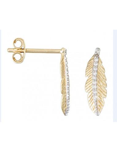 """Boucles d'oreilles Or Jaune 375/1000 """"Feuille tombante""""  Diamants 0,05/22"""