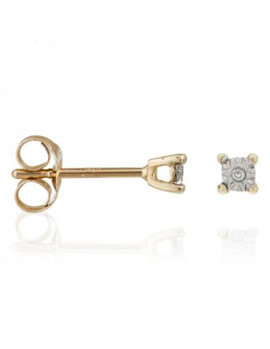 """Boucles d'oreilles Or Jaune 375/1000 """"Petites Puces"""" Diamants: 0,01ct/2"""