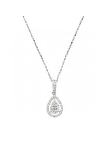 "Pendentif Or Blanc 375/1000 ""Drop in drop"" Diamant 0,16/35"