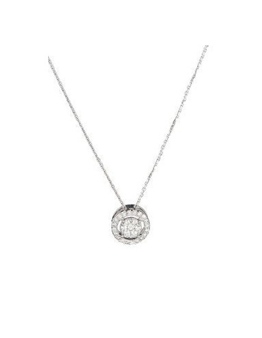 "Pendentif Or Blanc 375/1000 ""Rond Eternel"" Diamants 0,21/27"