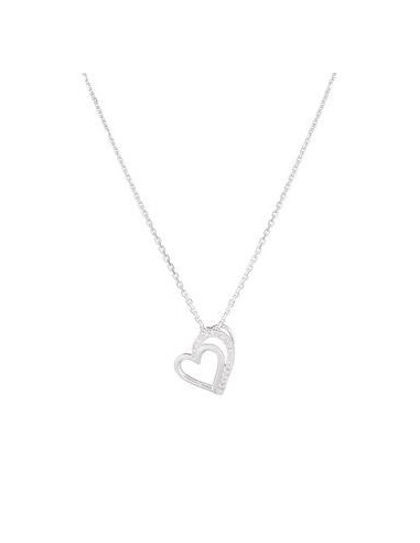 """Pendentif Or Blanc 375/1000 """"Two Hearts"""" Diamants 0,04cts/19"""