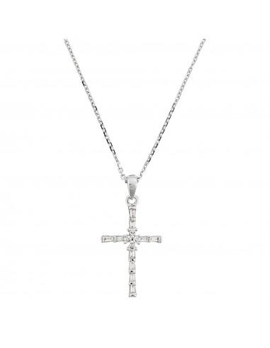 Pendentif Or Blanc 375/1000 Croix Majestueuse 0,10ct/14