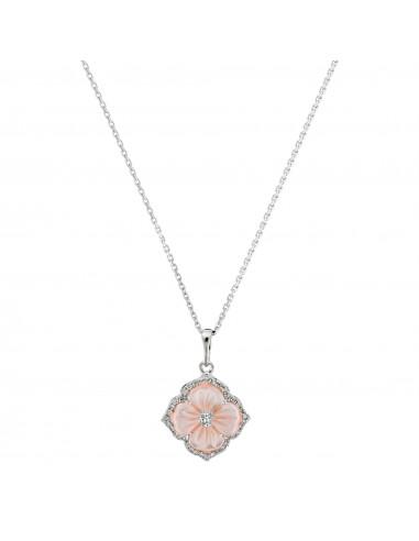 "Pendentif Or Blanc 375/1000 ""Troene"" Diamants 0,10/40 et Nacre Rose"