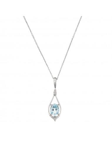 "Pendentif Or Blanc 375/1000 ""Brillant Topaze"" Diamants 0,02ct/2 Topaze 1,5ct"