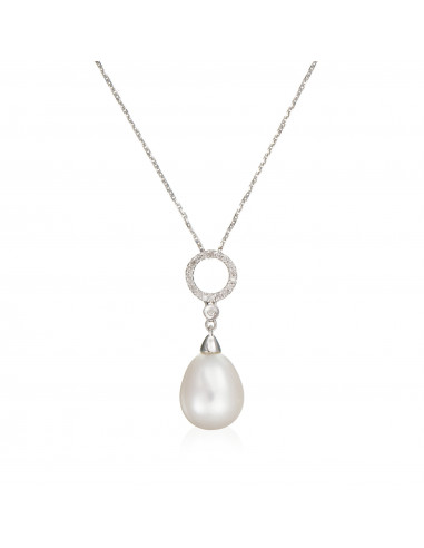 "Pendentif Or Blanc 375/1000 ""Jolie Perle"" - Diamant: 0,06ct/20-1perle blanche 8,5mm"