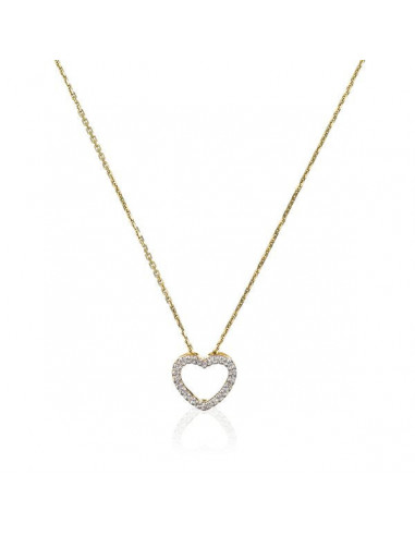 """Pendentif Or Jaune 375/1000 """"Joli Coeur PM""""  Or jaune Diamant :0,07ct/24"""
