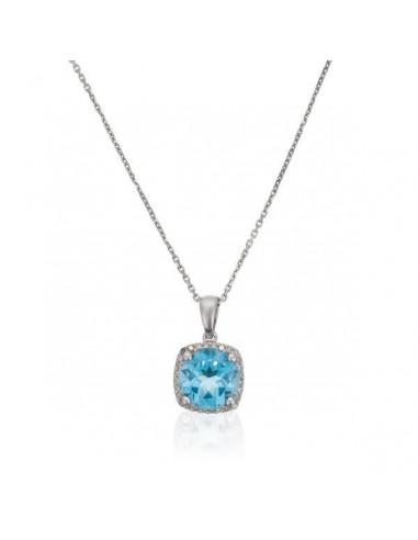 "Pendentif Or Blanc 375/1000 ""Delicate Topaze"" Diamant 0,08/28  Topaze"