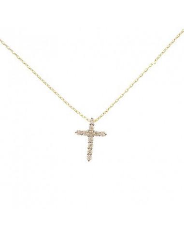 """Pendentif Or Jaune 375/1000 """"Sacrée croix"""" Diamant 0,17ct/11"""
