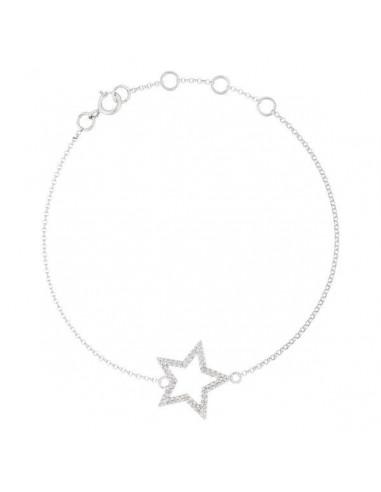 "Bracelet Or Blanc 375/1000 ""Etoile"" Diamant : 0,12ct/40"