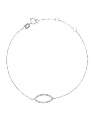 "Bracelet Or Blanc 375/1000 ""Graine de diamants"" Diamant 0,04ct/16"
