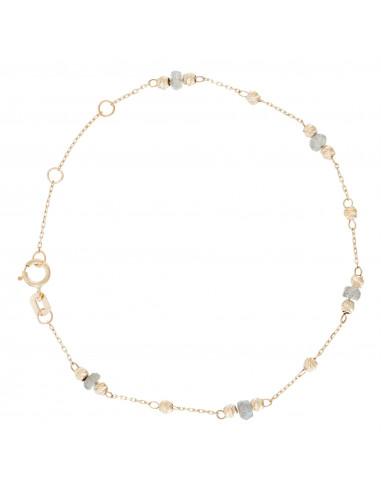 "Bracelet Or Jaune 375/1000 ""Perles de pierre"" Labradorite"