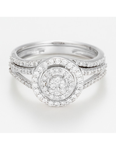 """Bague Or Blanc 375/1000 Duo """"Ronde Eternelle"""""""
