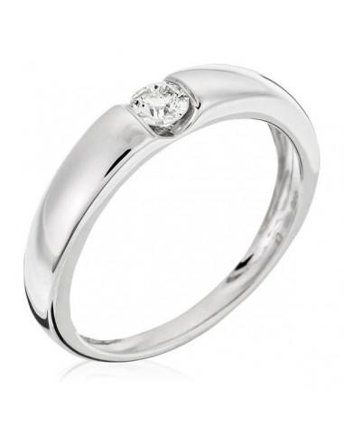 "Bague Or Blanc 375/1000 ""Solitaire Calabria"" Diamants: 0,19/1"