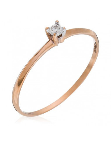 """Bague Or Rose 375/1000 Solitaire """"Pure"""" Or Rose Diamants: 0,01ct/1"""