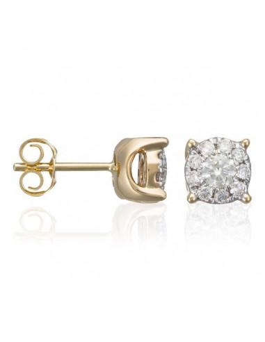 "Boucles d'oreilles Or Jaune 375/1000 ""Brillant Luciana 0,5"" Diamants: 0,25ct/2 & 0,25/18"