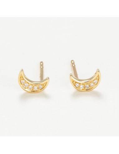 """Boucles d'oreilles Or Jaune 375/1000 """"Diamond moon"""" Diamants 0,02/10"""