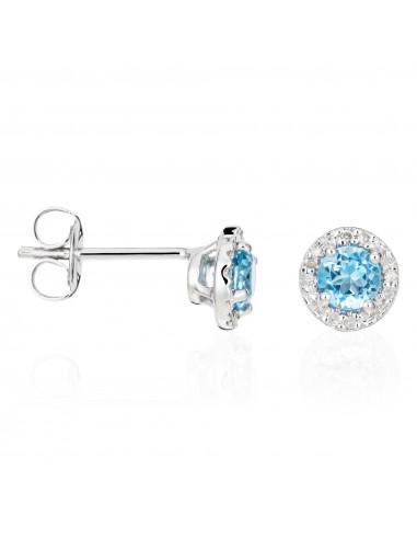 """Boucles d'oreilles Or Blanc 375/1000""""Popi Topaze"""" Diamants 0,05ct/16  Topaze 0,70ct/2"""