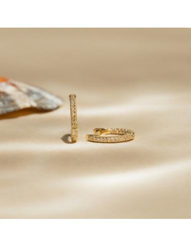 """Boucles d'oreilles Or Jaune 375/1000 """"Perfect créoles"""" Diamant 0,08ct/42"""