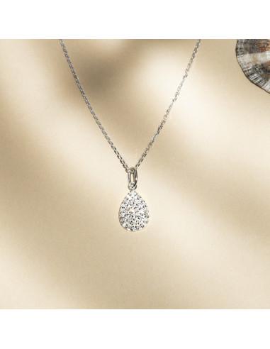 """Pendentif Or Blanc 375/1000 """"Goutte de pluie"""" Diamants 0,11ct/37"""