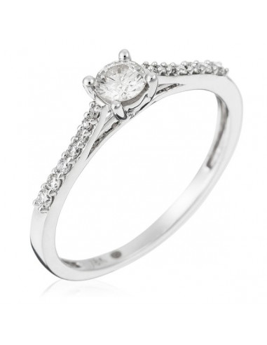 "Bague Or Blanc 750/1000 ""Eternelle"" Diamant  0,23ct/1 + 0,10ct/14"