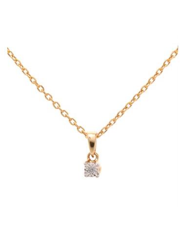 """Pendentif Or Jaune 750/1000 """"Brillantine""""  Diamant :0,01ct/1"""